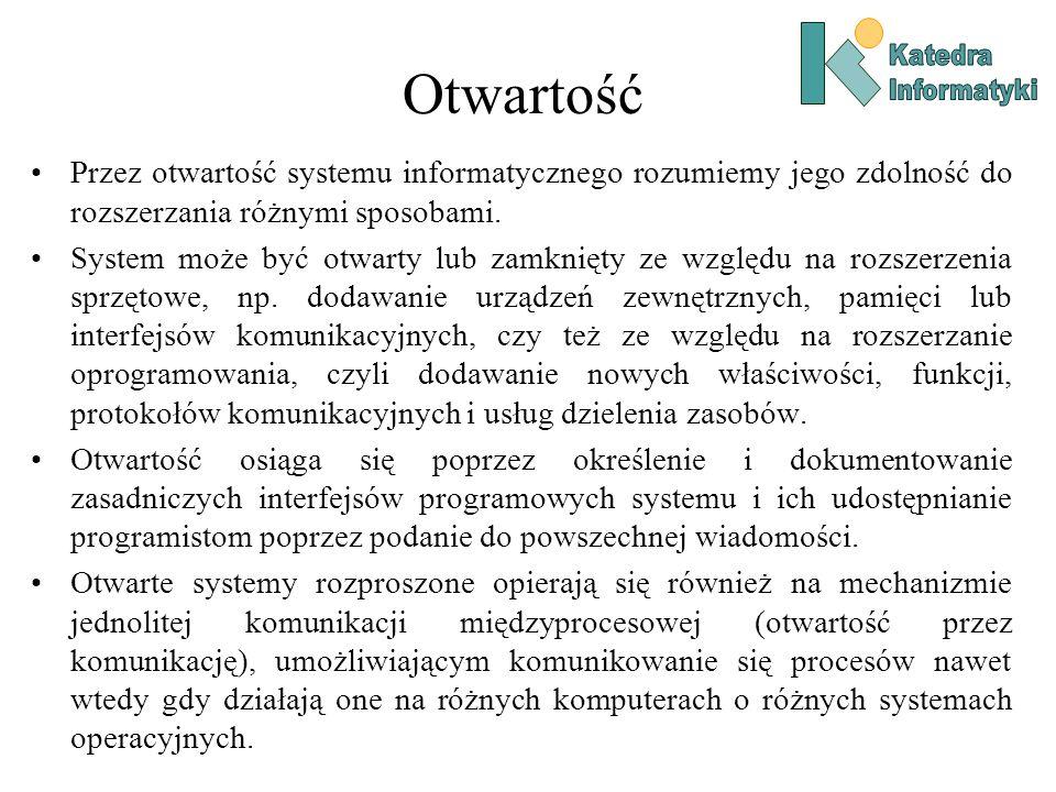Otwartość Przez otwartość systemu informatycznego rozumiemy jego zdolność do rozszerzania różnymi sposobami.