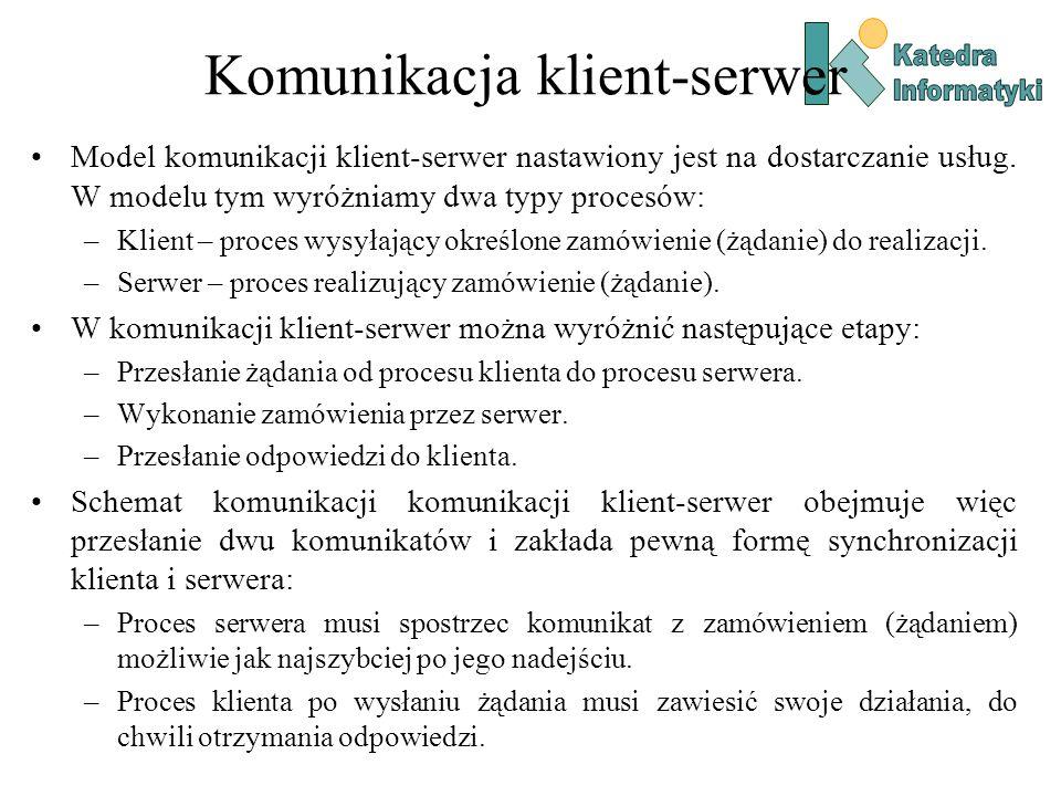 Komunikacja klient-serwer Model komunikacji klient-serwer nastawiony jest na dostarczanie usług.