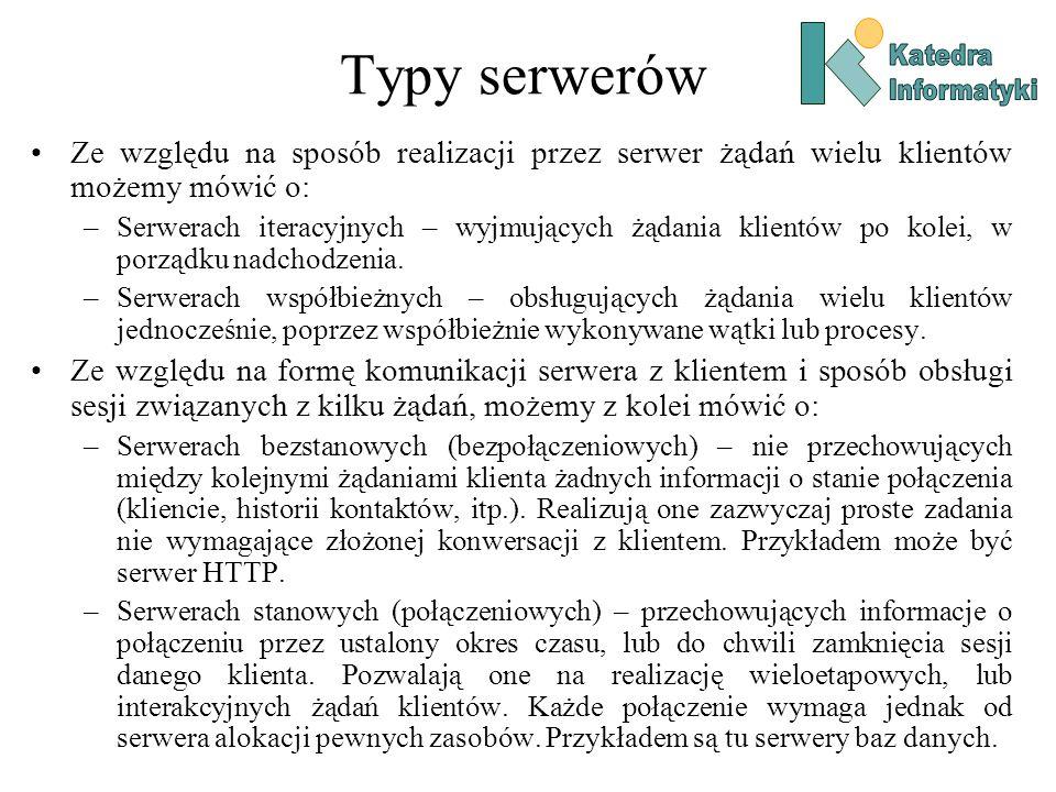 Typy serwerów Ze względu na sposób realizacji przez serwer żądań wielu klientów możemy mówić o: –Serwerach iteracyjnych – wyjmujących żądania klientów po kolei, w porządku nadchodzenia.