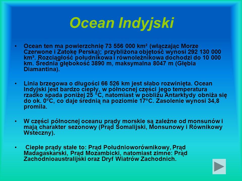 Ocean Indyjski Ocean ten ma powierzchnię 73 556 000 km² (włączając Morze Czerwone i Zatokę Perską); przybliżona objętość wynosi 292 130 000 km³. Rozci