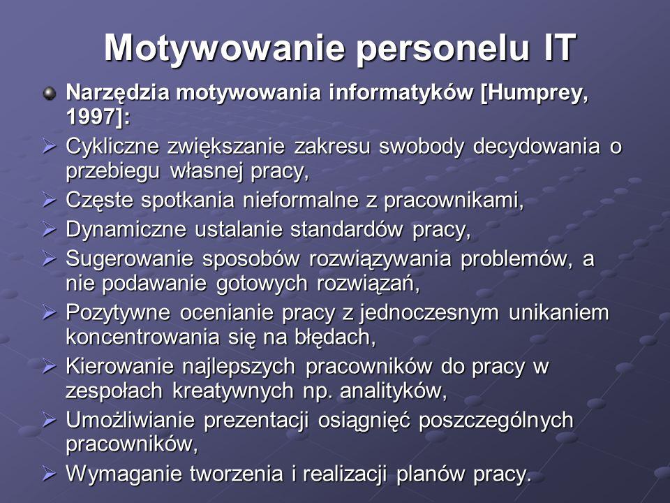 Motywowanie personelu IT Narzędzia motywowania informatyków [Humprey, 1997]:  Cykliczne zwiększanie zakresu swobody decydowania o przebiegu własnej pracy,  Częste spotkania nieformalne z pracownikami,  Dynamiczne ustalanie standardów pracy,  Sugerowanie sposobów rozwiązywania problemów, a nie podawanie gotowych rozwiązań,  Pozytywne ocenianie pracy z jednoczesnym unikaniem koncentrowania się na błędach,  Kierowanie najlepszych pracowników do pracy w zespołach kreatywnych np.