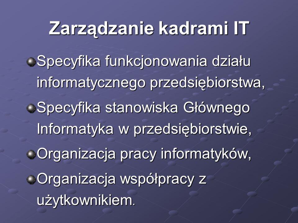 Zarządzanie kadrami IT Specyfika funkcjonowania działu informatycznego przedsiębiorstwa, Specyfika stanowiska Głównego Informatyka w przedsiębiorstwie, Organizacja pracy informatyków, Organizacja współpracy z użytkownikiem.