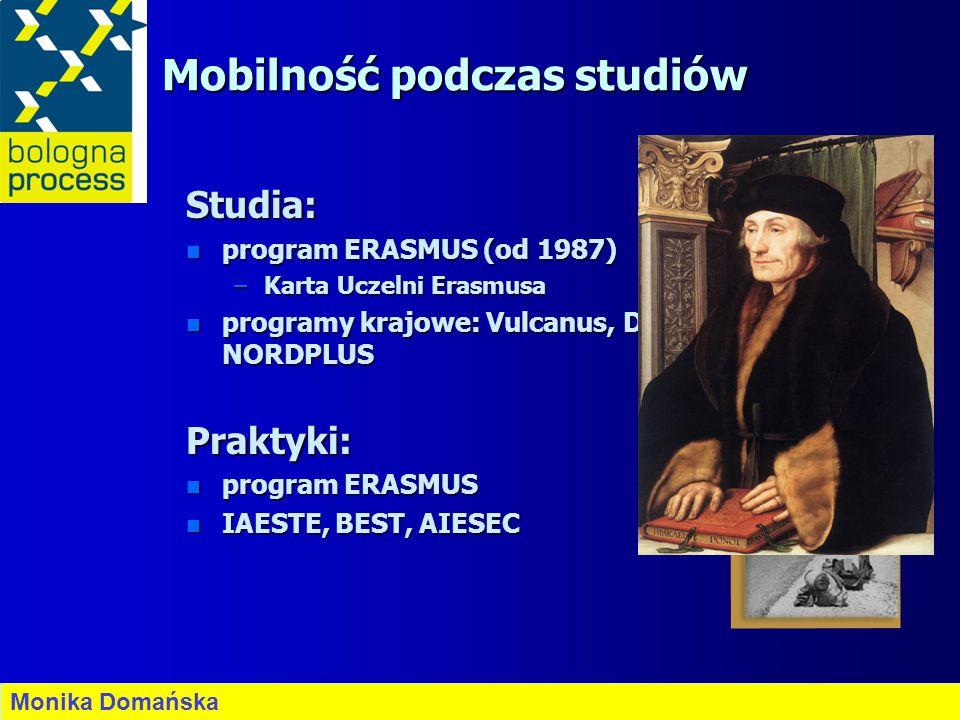 Mobilność podczas studiów Studia: n program ERASMUS (od 1987) –Karta Uczelni Erasmusa n programy krajowe: Vulcanus, DAAD, CIMO, NORDPLUS Praktyki: n p