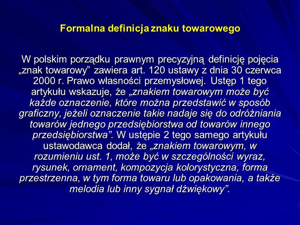 """Formalna definicja znaku towarowego W polskim porządku prawnym precyzyjną definicję pojęcia """"znak towarowy"""" zawiera art. 120 ustawy z dnia 30 czerwca"""