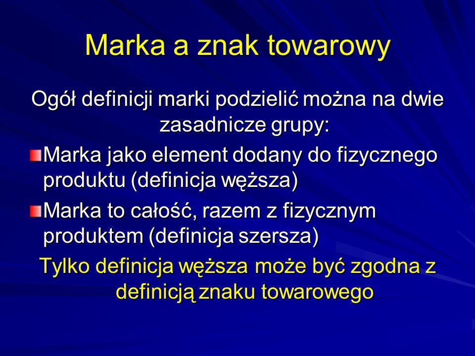 Marka a znak towarowy Ogół definicji marki podzielić można na dwie zasadnicze grupy: Marka jako element dodany do fizycznego produktu (definicja węższ