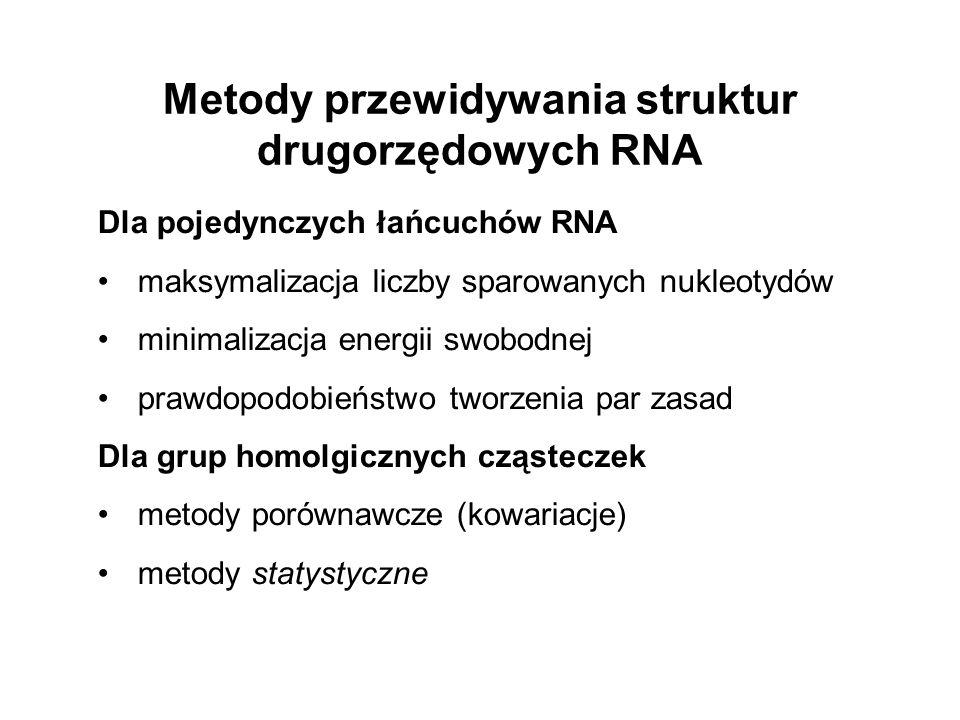 Dla pojedynczych łańcuchów RNA maksymalizacja liczby sparowanych nukleotydów minimalizacja energii swobodnej prawdopodobieństwo tworzenia par zasad Dl
