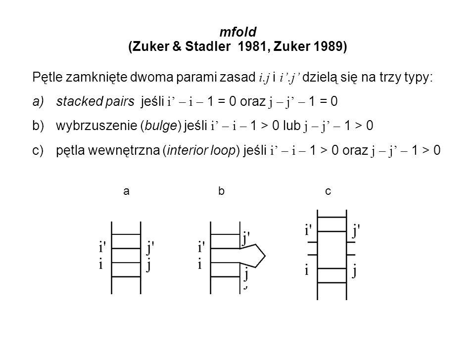 mfold (Zuker & Stadler 1981, Zuker 1989) Pętle zamknięte dwoma parami zasad i.j i i'.j' dzielą się na trzy typy: a)stacked pairs jeśli i' – i – 1 = 0