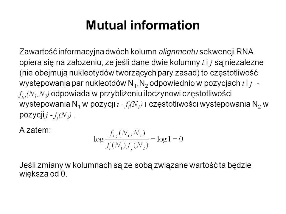Zawartość informacyjna dwóch kolumn alignmentu sekwencji RNA opiera się na założeniu, że jeśli dane dwie kolumny i i j są niezależne (nie obejmują nuk