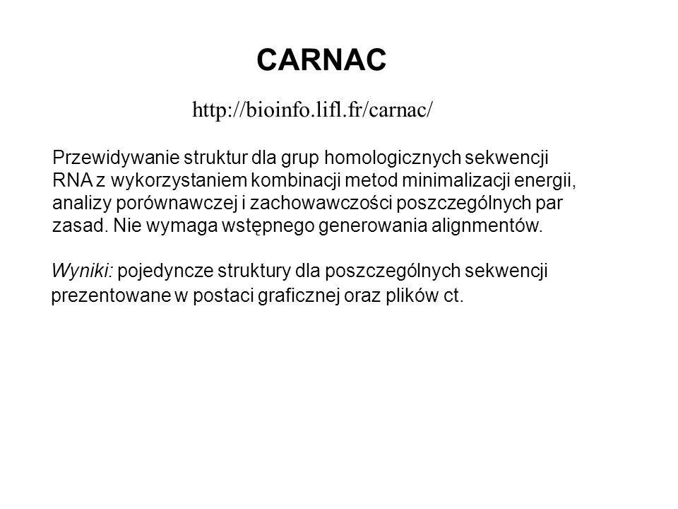 http://bioinfo.lifl.fr/carnac/ Przewidywanie struktur dla grup homologicznych sekwencji RNA z wykorzystaniem kombinacji metod minimalizacji energii, a