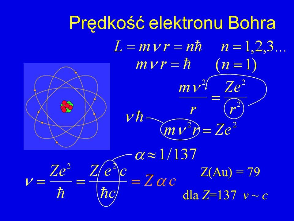 Prędkość elektronu Bohra Z(Au) = 79 dla Z=137 v ~ c