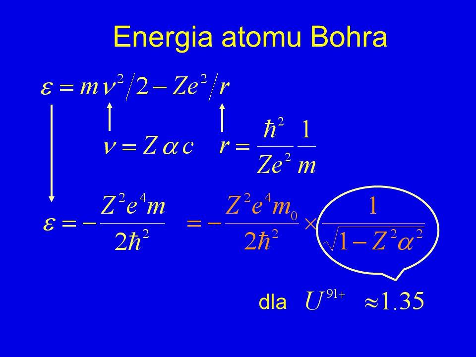 Energia atomu Bohra dla