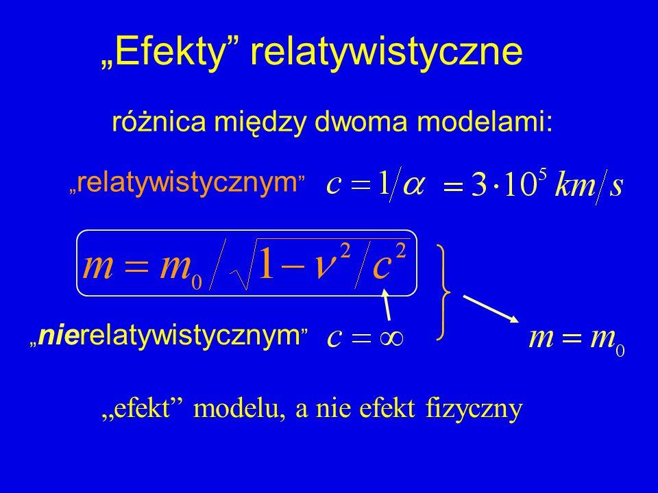 """""""Efekty relatywistyczne różnica między dwoma modelami: """" relatywistycznym """" nierelatywistycznym """"efekt modelu, a nie efekt fizyczny"""