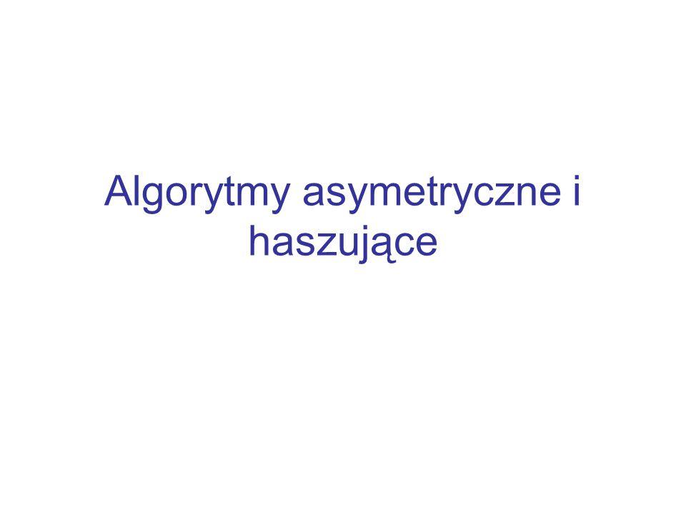 Plan wykładu Motywacja Szyfrowanie asymetryczne Algorytm RSA Liczby pierwsze Algorytmy haszujące Algorytm MD5 Algorytm SHA Podsumowanie
