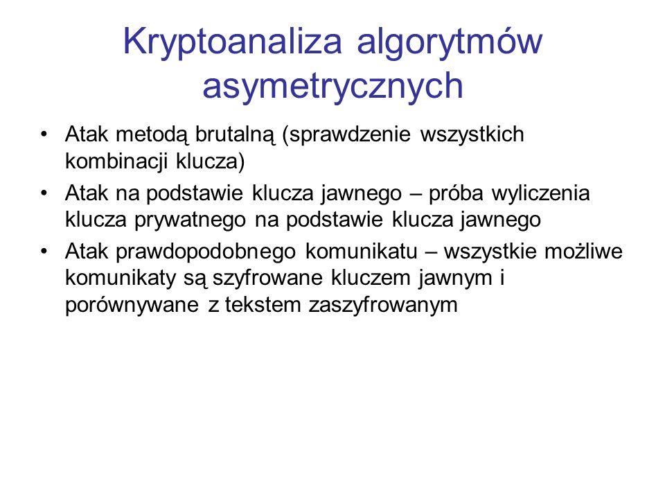 Kryptoanaliza algorytmów asymetrycznych Atak metodą brutalną (sprawdzenie wszystkich kombinacji klucza) Atak na podstawie klucza jawnego – próba wylic