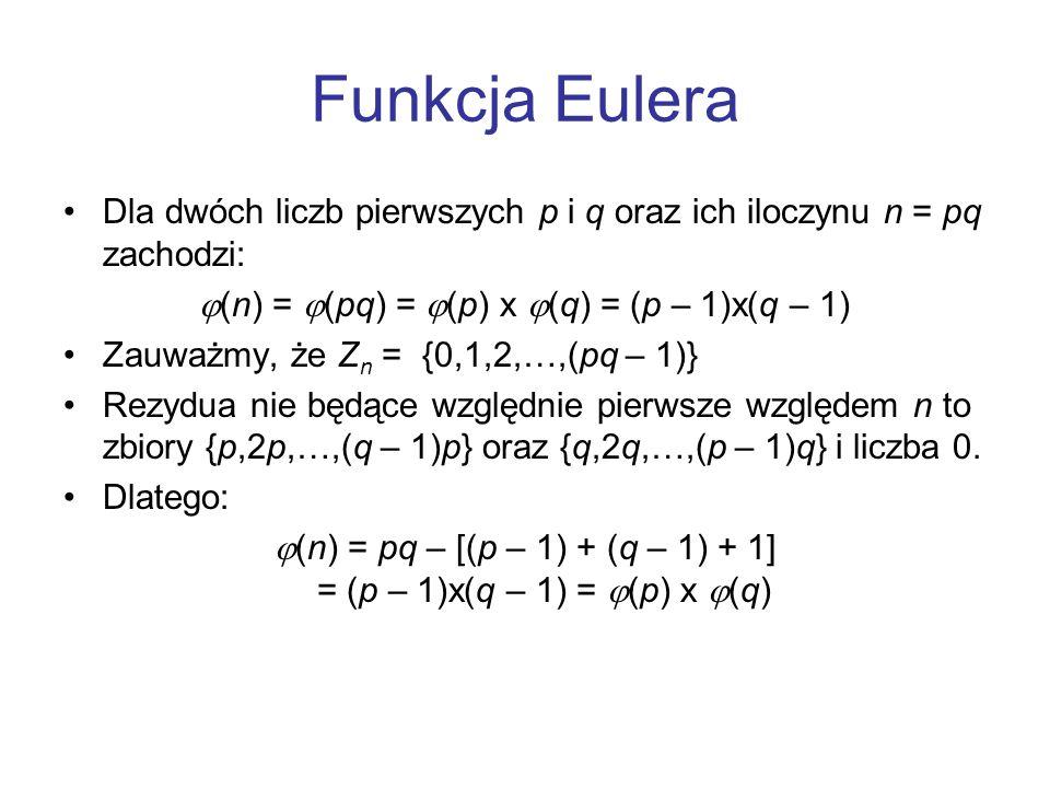 Funkcja Eulera Dla dwóch liczb pierwszych p i q oraz ich iloczynu n = pq zachodzi:  (n) =  (pq) =  (p) x  (q) = (p – 1)x(q – 1) Zauważmy, że Z n =