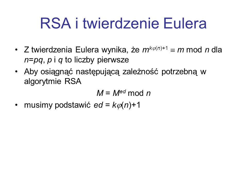 RSA i twierdzenie Eulera Z twierdzenia Eulera wynika, że m k  (n)+1  m mod n dla n=pq, p i q to liczby pierwsze Aby osiągnąć następującą zależność p