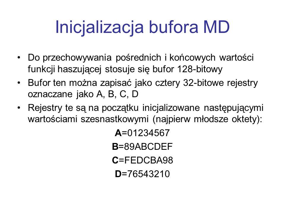 Inicjalizacja bufora MD Do przechowywania pośrednich i końcowych wartości funkcji haszującej stosuje się bufor 128-bitowy Bufor ten można zapisać jako