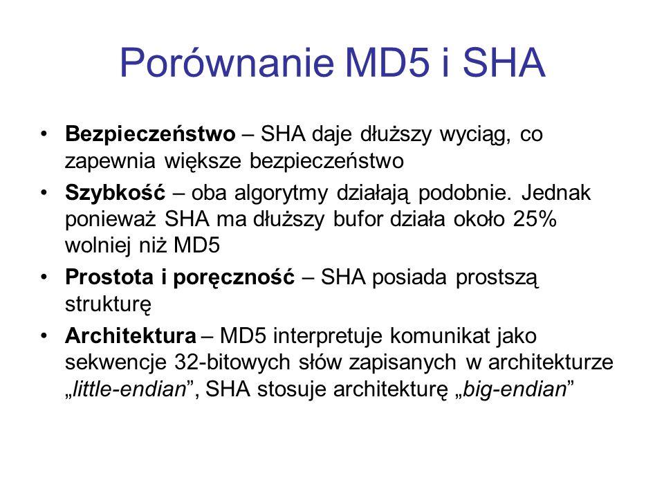 Porównanie MD5 i SHA Bezpieczeństwo – SHA daje dłuższy wyciąg, co zapewnia większe bezpieczeństwo Szybkość – oba algorytmy działają podobnie. Jednak p
