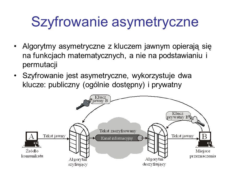 Asymetryczne versus symetryczne Szyfrowanie symetryczneSzyfrowanie asymetryczne 1.