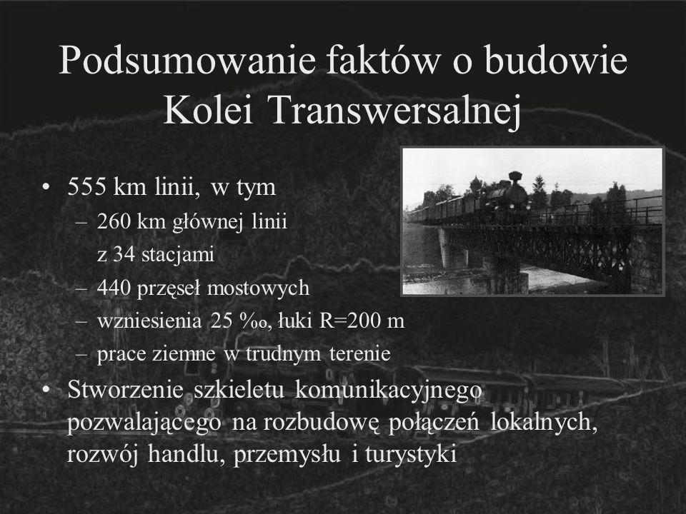 Podsumowanie faktów o budowie Kolei Transwersalnej 555 km linii, w tym –260 km głównej linii z 34 stacjami –440 przęseł mostowych –wzniesienia 25 % o,