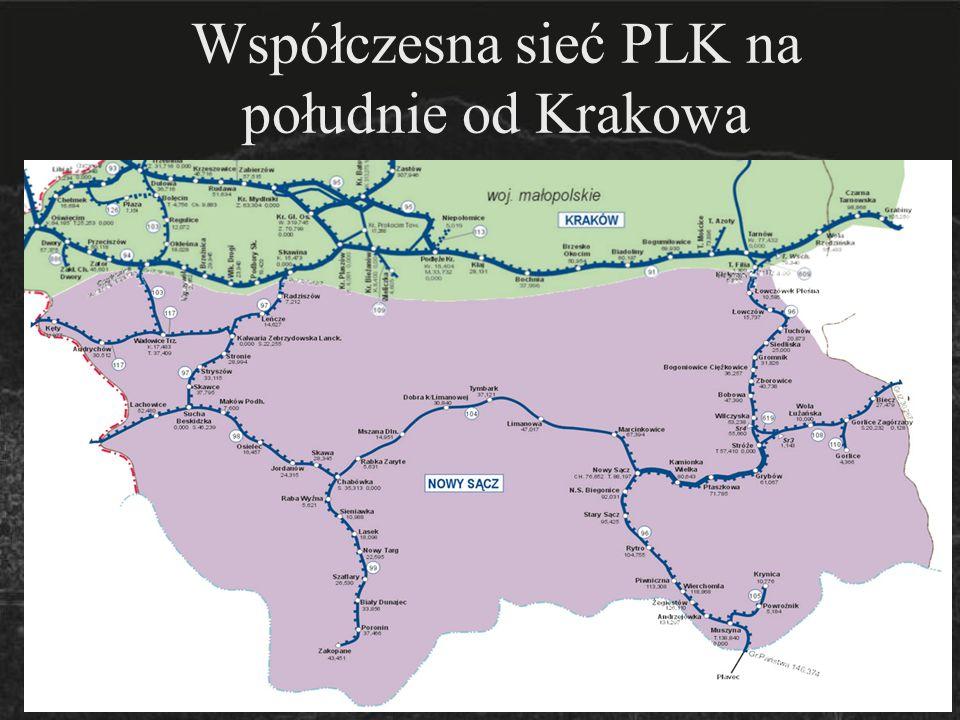 Współczesna sieć PLK na południe od Krakowa