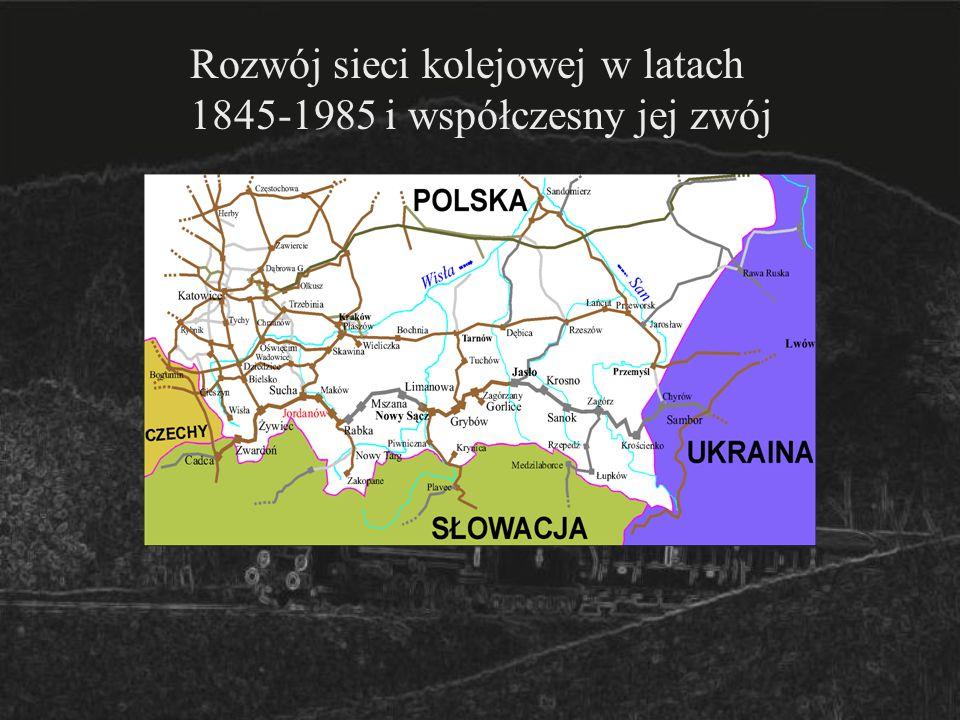 Rozwój sieci kolejowej w latach 1845-1985 i współczesny jej zwój