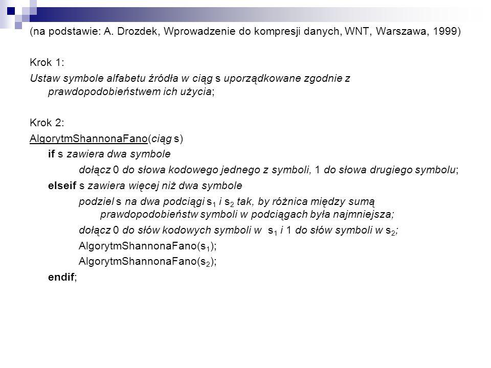 (na podstawie: A. Drozdek, Wprowadzenie do kompresji danych, WNT, Warszawa, 1999) Krok 1: Ustaw symbole alfabetu źródła w ciąg s uporządkowane zgodnie