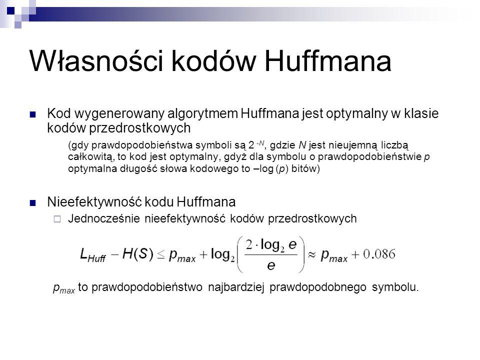Własności kodów Huffmana Kod wygenerowany algorytmem Huffmana jest optymalny w klasie kodów przedrostkowych (gdy prawdopodobieństwa symboli są 2 -N, g