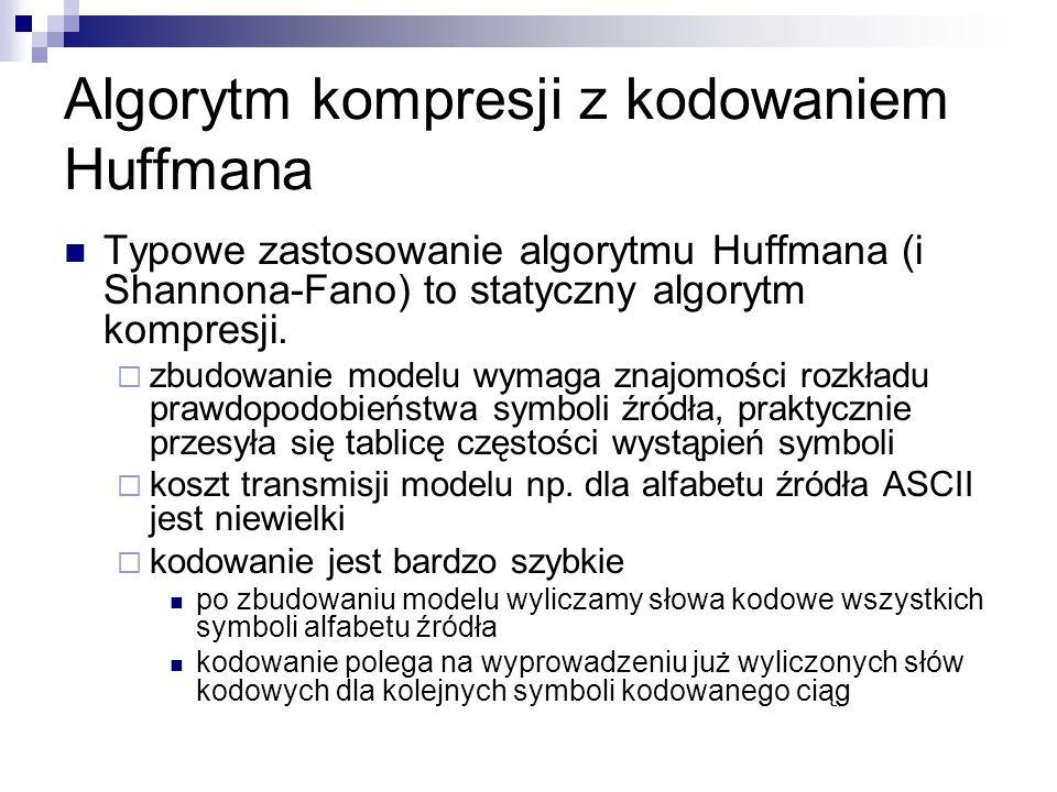 Algorytm kompresji z kodowaniem Huffmana Typowe zastosowanie algorytmu Huffmana (i Shannona-Fano) to statyczny algorytm kompresji.  zbudowanie modelu