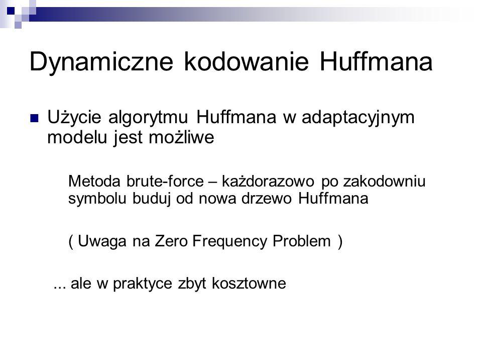 Dynamiczne kodowanie Huffmana Użycie algorytmu Huffmana w adaptacyjnym modelu jest możliwe Metoda brute-force – każdorazowo po zakodowniu symbolu budu