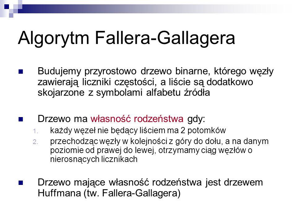 Algorytm Fallera-Gallagera Budujemy przyrostowo drzewo binarne, którego węzły zawierają liczniki częstości, a liście są dodatkowo skojarzone z symbola