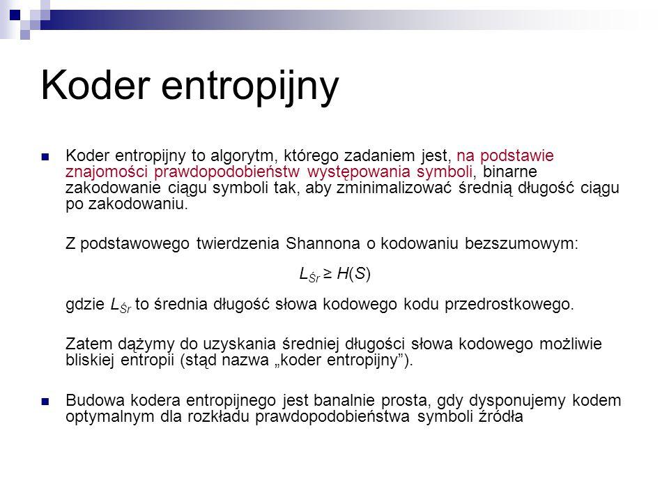 Koder entropijny Koder entropijny to algorytm, którego zadaniem jest, na podstawie znajomości prawdopodobieństw występowania symboli, binarne zakodowa