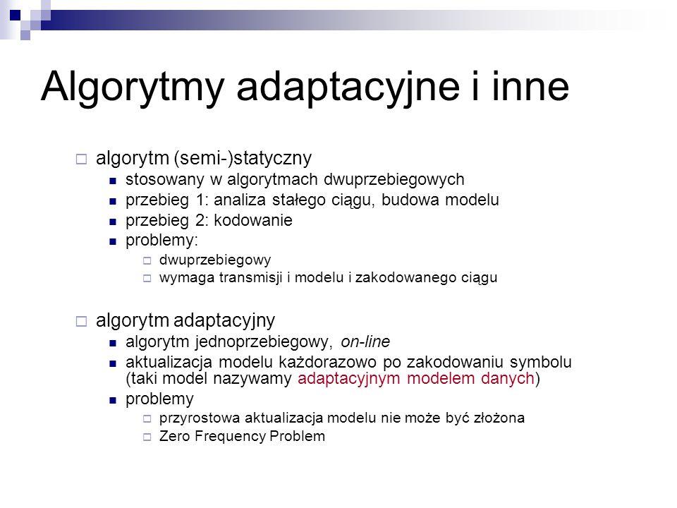 Algorytmy adaptacyjne i inne  algorytm (semi-)statyczny stosowany w algorytmach dwuprzebiegowych przebieg 1: analiza stałego ciągu, budowa modelu prz