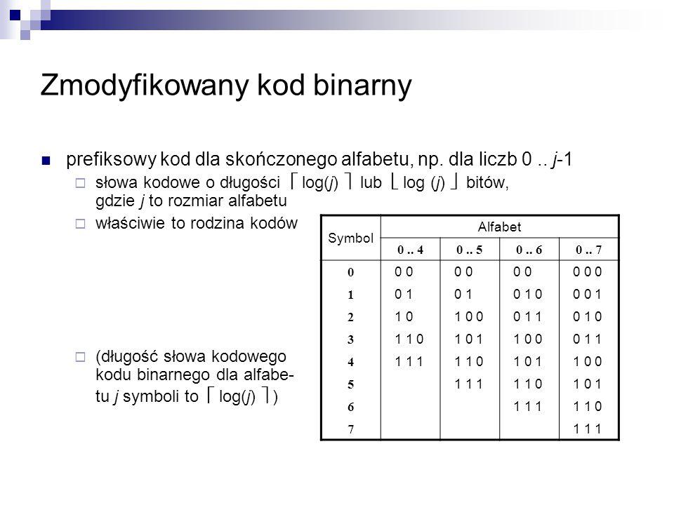 Zmodyfikowany kod binarny prefiksowy kod dla skończonego alfabetu, np. dla liczb 0.. j-1  słowa kodowe o długości  log(j)  lub  log (j)  bitów, g