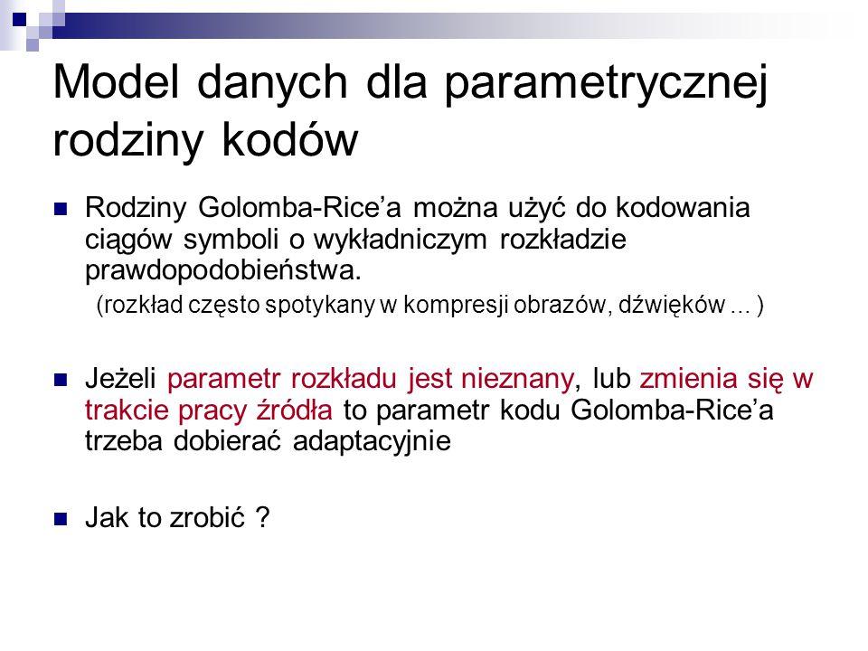 Model danych dla parametrycznej rodziny kodów Rodziny Golomba-Rice'a można użyć do kodowania ciągów symboli o wykładniczym rozkładzie prawdopodobieńst