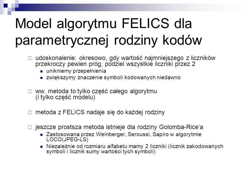 Model algorytmu FELICS dla parametrycznej rodziny kodów  udoskonalenie: okresowo, gdy wartość najmniejszego z liczników przekroczy pewien próg, podzi