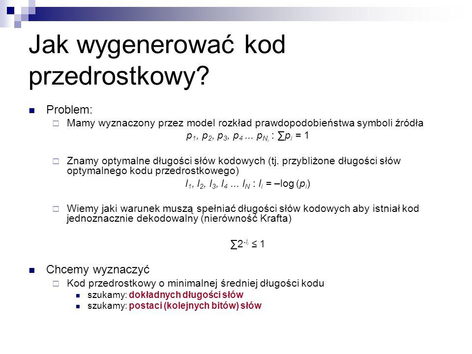 Jak wygenerować kod przedrostkowy? Problem:  Mamy wyznaczony przez model rozkład prawdopodobieństwa symboli źródła p 1, p 2, p 3, p 4... p N, : ∑p i
