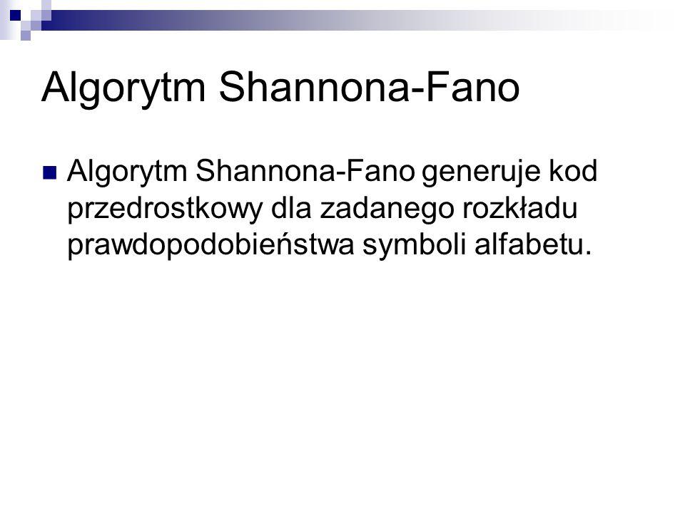 Algorytm Shannona-Fano Algorytm Shannona-Fano generuje kod przedrostkowy dla zadanego rozkładu prawdopodobieństwa symboli alfabetu.