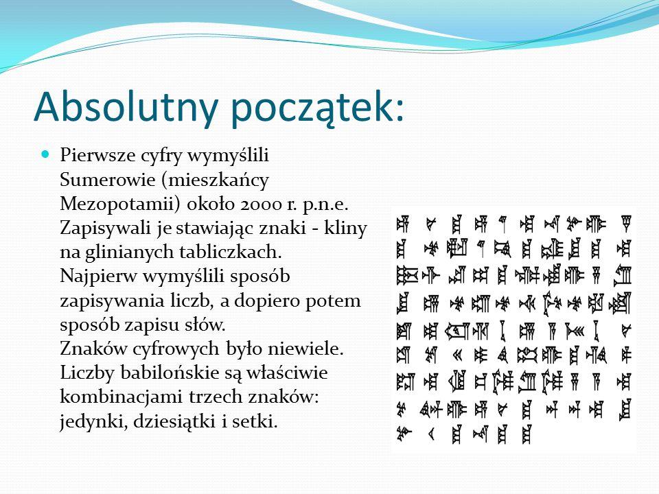 Absolutny początek: Pierwsze cyfry wymyślili Sumerowie (mieszkańcy Mezopotamii) około 2000 r. p.n.e. Zapisywali je stawiając znaki - kliny na gliniany