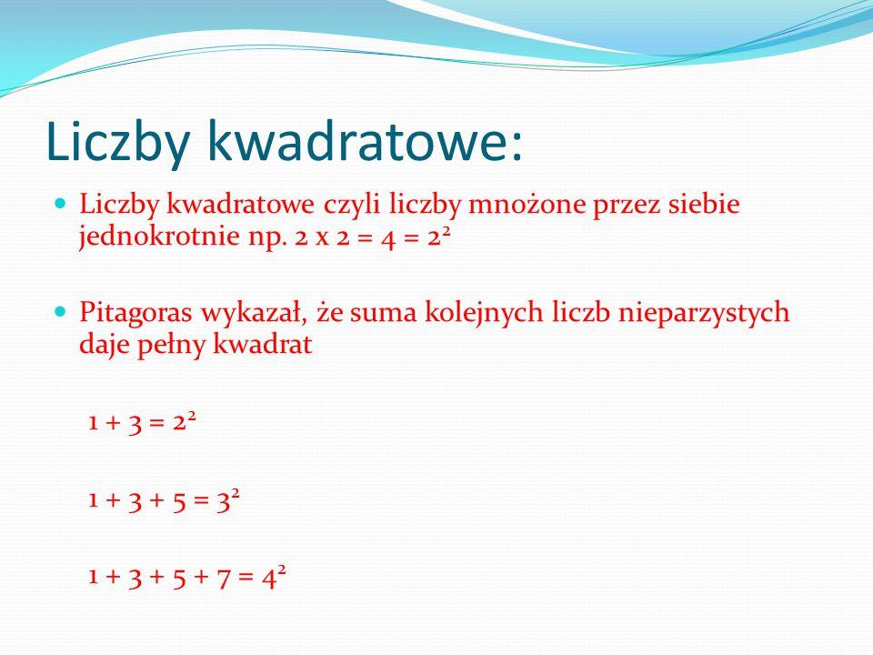 Liczby kwadratowe: Liczby kwadratowe czyli liczby mnożone przez siebie jednokrotnie np. 2 x 2 = 4 = 2 2 Pitagoras wykazał, że suma kolejnych liczb nie