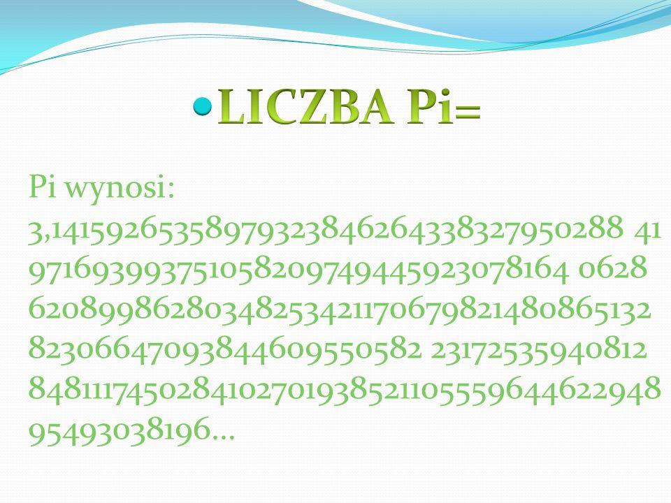 Pi wynosi: 3,14159265358979323846264338327950288 41 971693993751058209749445923078164 0628 62089986280348253421170679821480865132 82306647093844609550