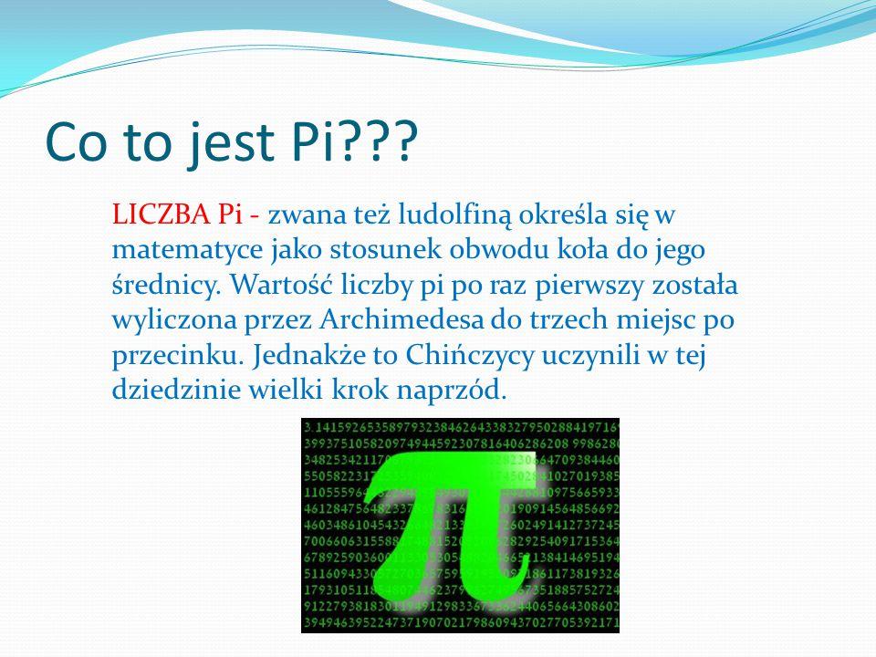 Co to jest Pi??? LICZBA Pi - zwana też ludolfiną określa się w matematyce jako stosunek obwodu koła do jego średnicy. Wartość liczby pi po raz pierwsz