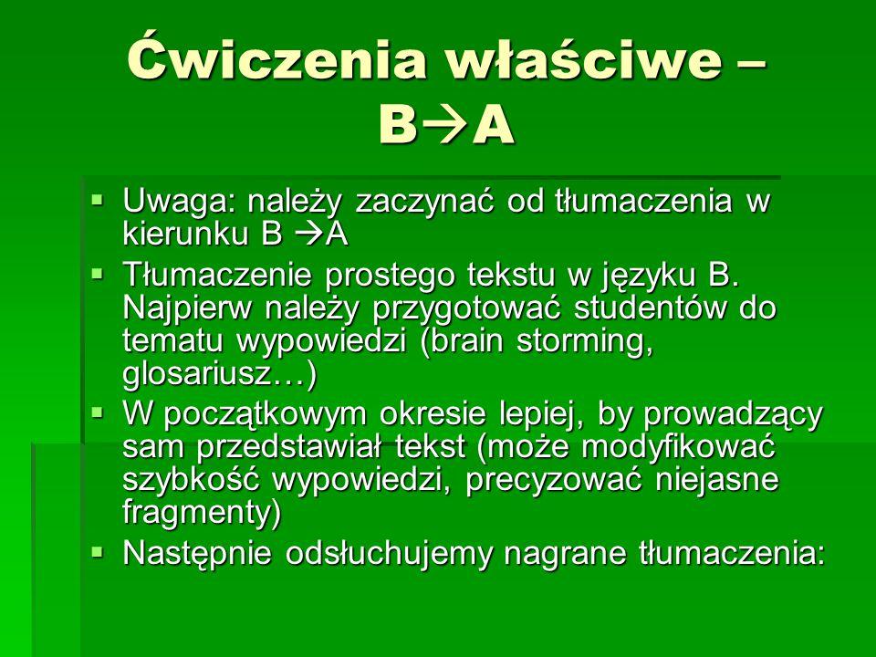 Ćwiczenia właściwe – B  A  Uwaga: należy zaczynać od tłumaczenia w kierunku B  A  Tłumaczenie prostego tekstu w języku B.