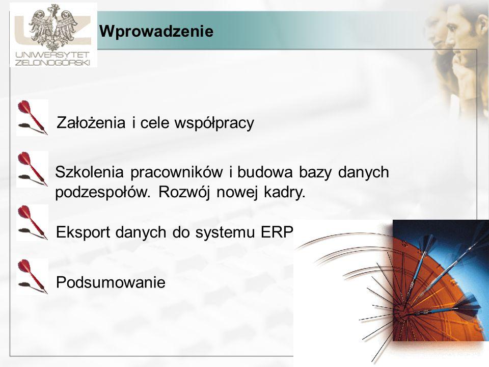 Wprowadzenie Założenia i cele współpracy Szkolenia pracowników i budowa bazy danych podzespołów. Rozwój nowej kadry. Eksport danych do systemu ERP Pod
