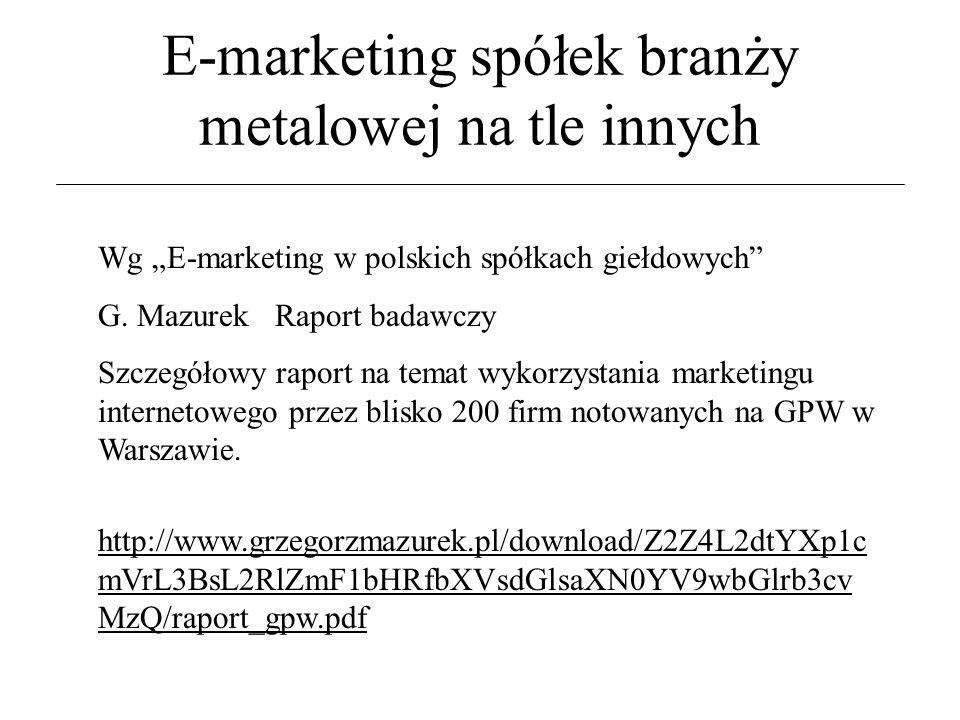 """E-marketing spółek branży metalowej na tle innych Wg """"E-marketing w polskich spółkach giełdowych G."""