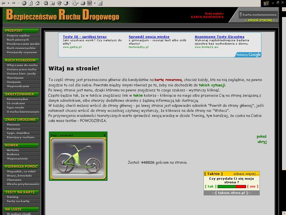 Strona, która może zarabiać kierując do sklepów rowerowych i na kursy jazdy rowerem http://www.eti.agh.edu.pl/brd/