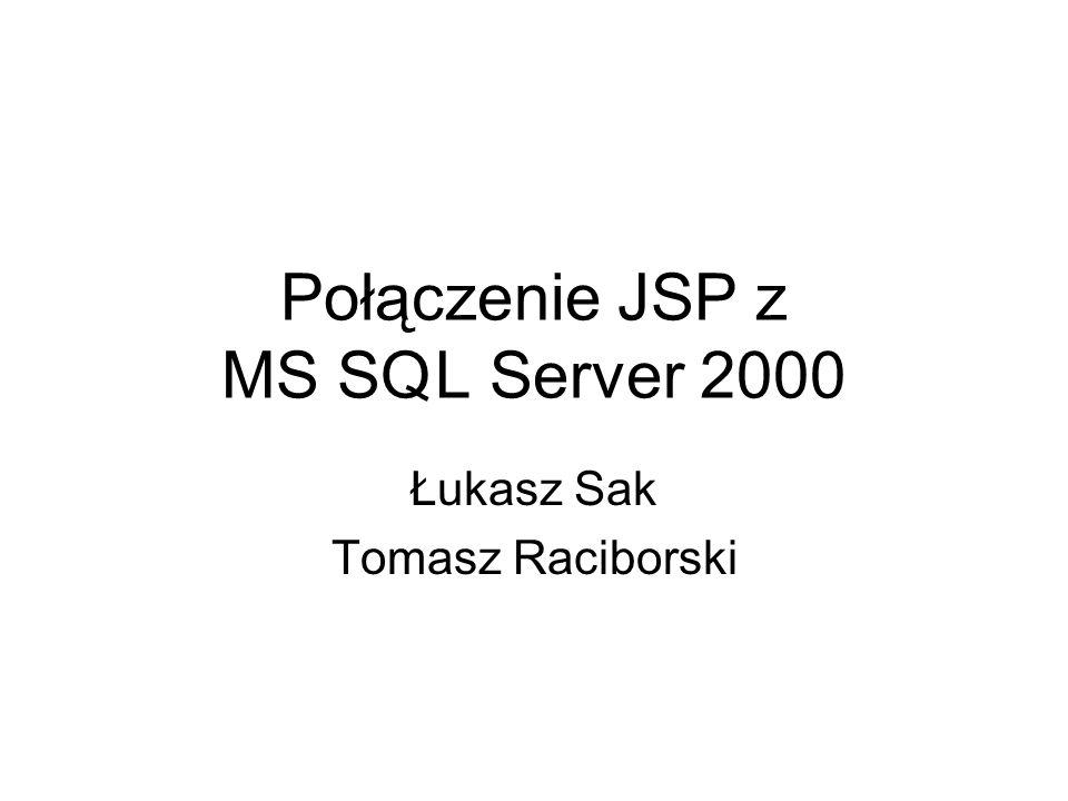 Połączenie JSP z MS SQL Server 2000 Łukasz Sak Tomasz Raciborski