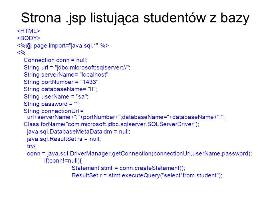 Strona.jsp listująca studentów z bazy <% Connection conn = null; String url = jdbc:microsoft:sqlserver:// ; String serverName= localhost ; String portNumber = 1433 ; String databaseName= II ; String userName = sa ; String password = ; String connectionUrl = url+serverName+ : +portNumber+ ;databaseName= +databaseName+ ; ; Class.forName( com.microsoft.jdbc.sqlserver.SQLServerDriver ); java.sql.DatabaseMetaData dm = null; java.sql.ResultSet rs = null; try{ conn = java.sql.DriverManager.getConnection(connectionUrl,userName,password); if(conn!=null){ Statement stmt = conn.createStatement(); ResultSet r = stmt.executeQuery( select*from student );