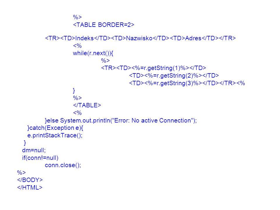 %> Indeks Nazwisko Adres <% while(r.next()){ %> <% } %> <% }else System.out.println(