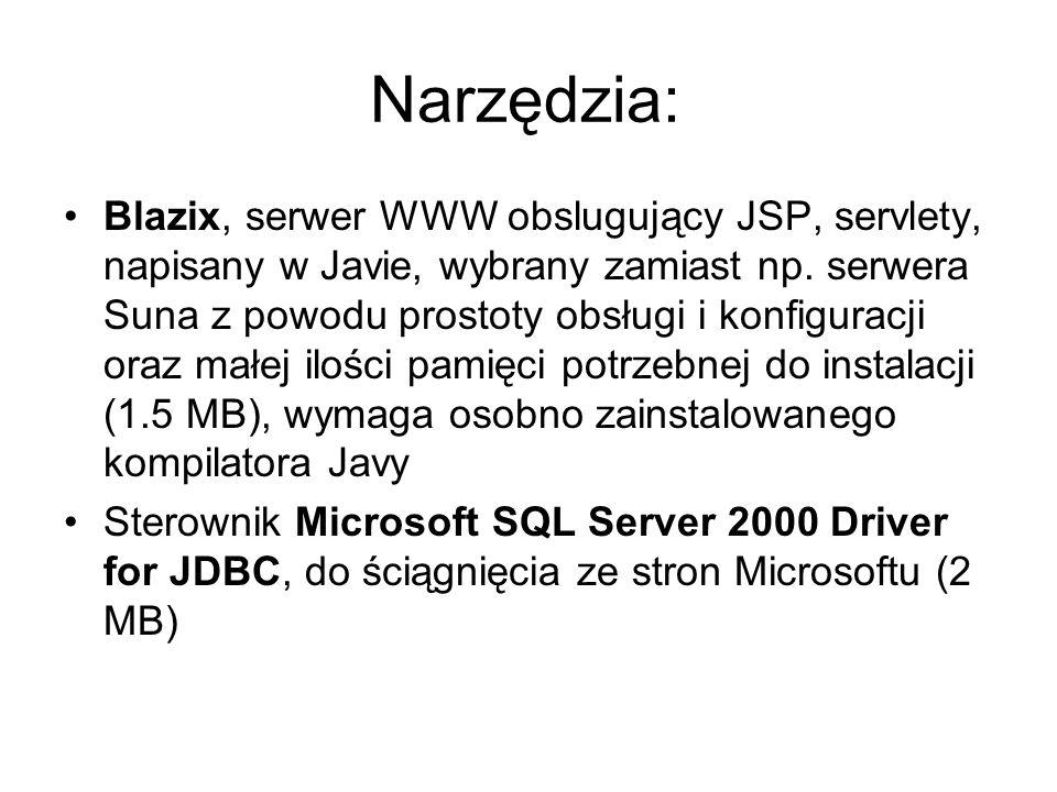 Narzędzia: Blazix, serwer WWW obslugujący JSP, servlety, napisany w Javie, wybrany zamiast np.